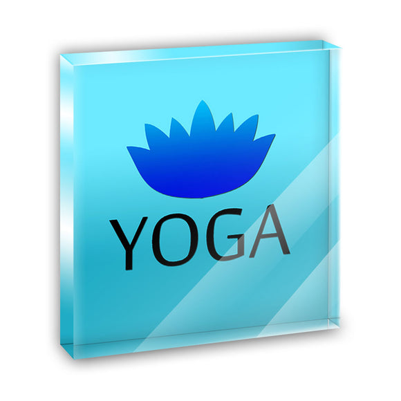 Yoga Lotus Flower Acrylic Office Mini Desk Plaque Ornament Paperweight