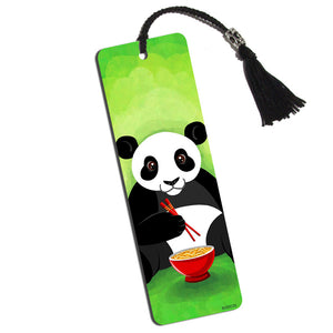 Panda Eating with Chopsticks Printed Bookmark with Tassel