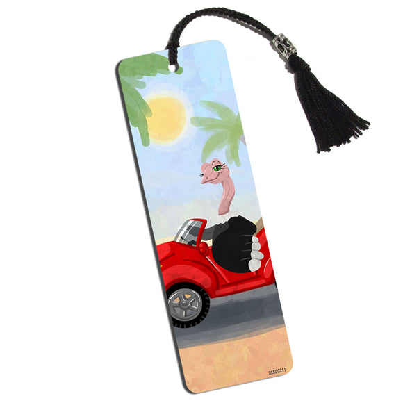 Ostrich Driving a Car Printed Bookmark with Tassel