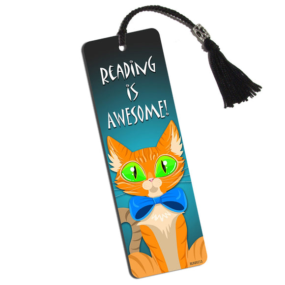 Orange Cat in Bowtie Printed Bookmark with Tassel