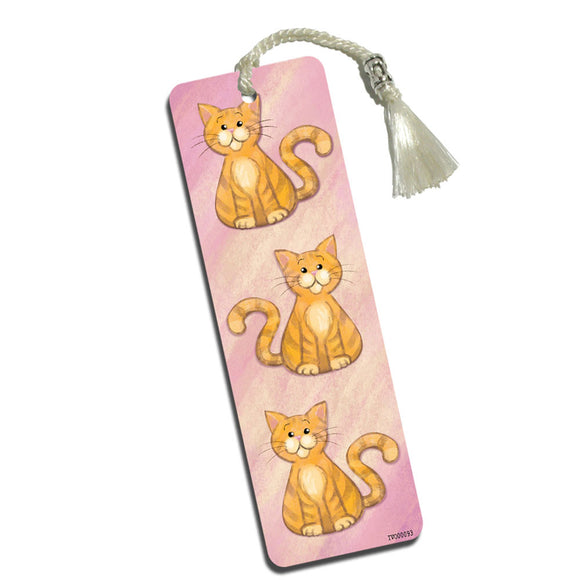 Orange Cat in Pastel Printed Bookmark with Tassel