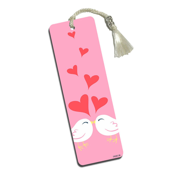 Sweet Kissing Birds Pink Printed Bookmark with Tassel