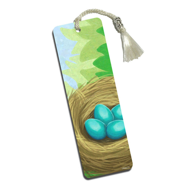 Robin's Nest with Eggs Printed Bookmark with Tassel