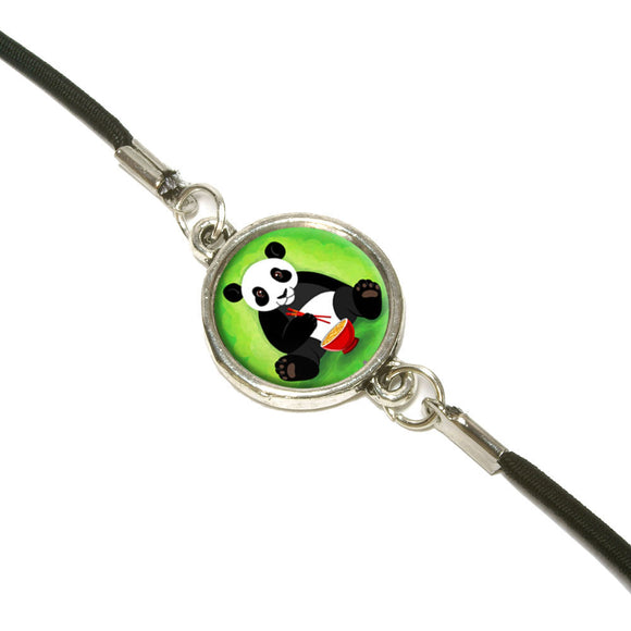 Panda Eating with Chopsticks Bookmark Book Wrap Strap Elastic Band