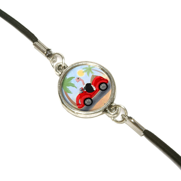 Ostrich Driving a Car Bookmark Book Wrap Strap Elastic Band