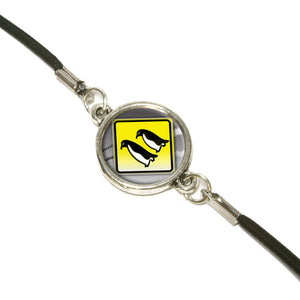 Penguins Crossing Road Stylized Yellow Grey Caution Sign Bookmark Book Wrap