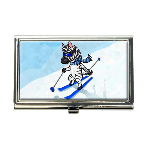 Zebra Skiing Business Credit Card Holder Case