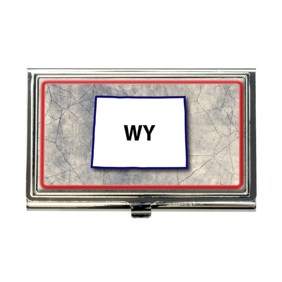 Wyoming WY State Outline on Faded Blue Business Credit Card Holder Case