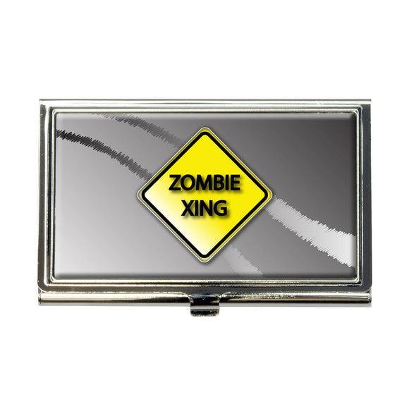 Zombie Xing Crossing Yellow Caution Sign Business Credit Card Holder Case