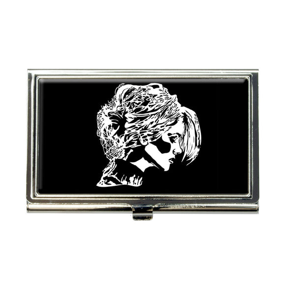 Woman Profile Chignon Hair Business Credit Card Holder Case