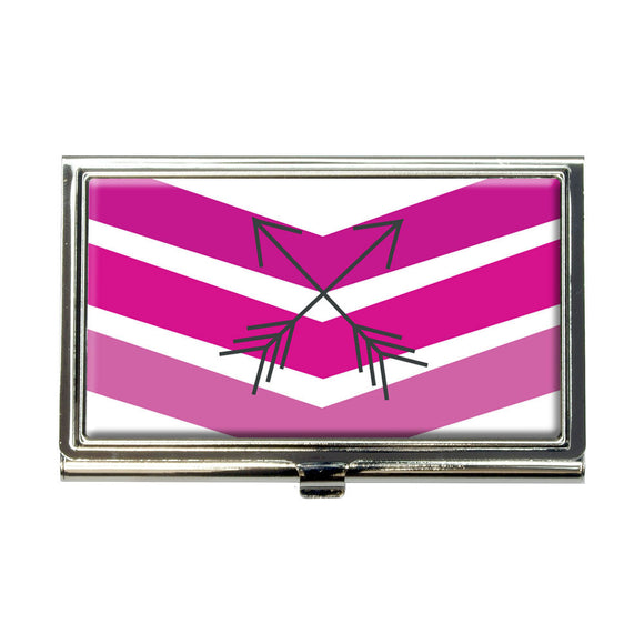 Pink Chevrons & Arrows Business Credit Card Holder Case