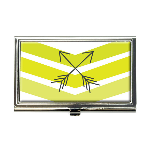 Yellow Chevrons & Arrows Business Credit Card Holder Case