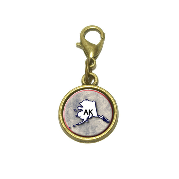 Alaska AK State Outline on Faded Blue Cute Bracelet Pendant Charm