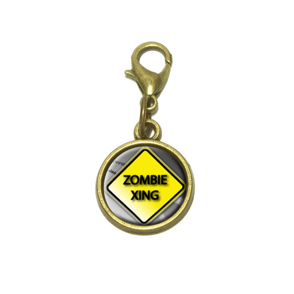 Zombie Xing Crossing Stylized Yellow Caution Sign Cute Bracelet Pendant Charm
