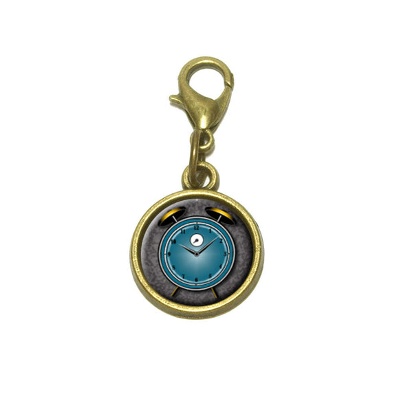 Alarm Clock Old Fashion Teal Gold Cute Bracelet Pendant Charm