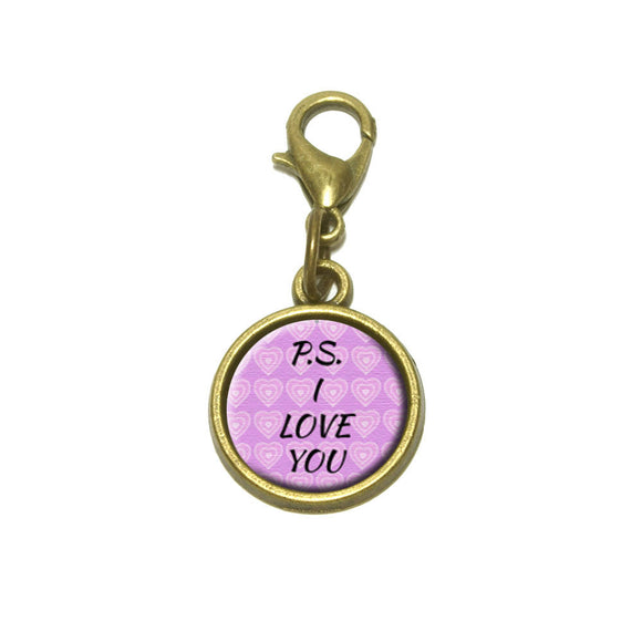 PS I Love You on Pink Hearts Pattern Cute Bracelet Pendant Charm