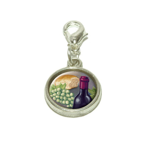 Wine Bottle with Bread and Grapes Dangling Bracelet Pendant Charm