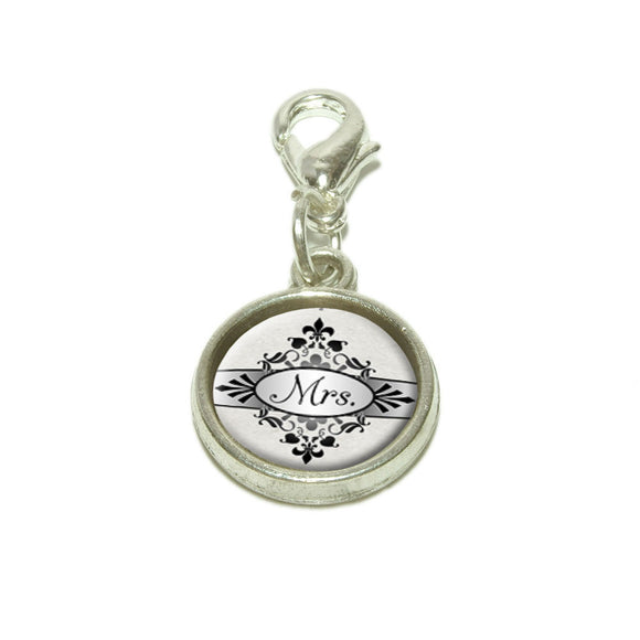 Mrs on Floral Pattern Bride Woman Hers Wife Dangling Bracelet Pendant Charm