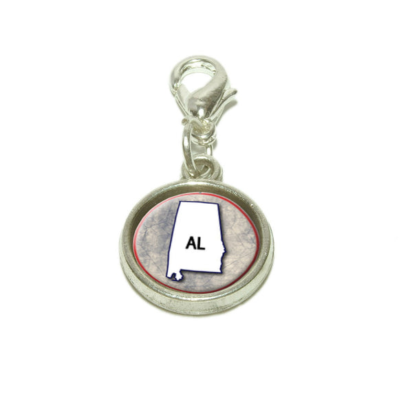 Alabama AL State Outline on Faded Blue Dangling Bracelet Pendant Charm