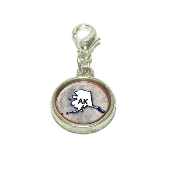 Alaska AK State Outline on Faded Blue Dangling Bracelet Pendant Charm