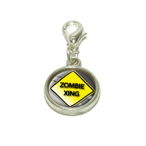 Zombie Xing Crossing Stylized Caution Sign Dangling Bracelet Pendant Charm