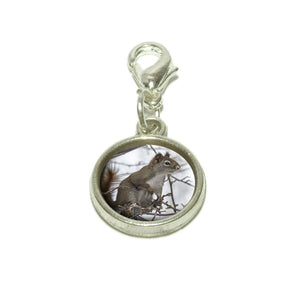 Winter Forest Tree Squirrel Dangling Bracelet Pendant Charm