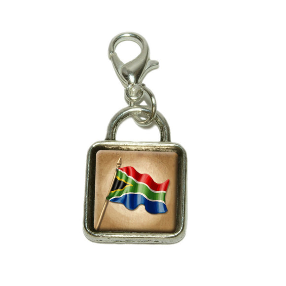 Vintage South African Flag South Africa Dangling Bracelet Pendant Square Charm