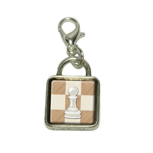 White Pawn Chess Set Dangling Bracelet Pendant Square Charm