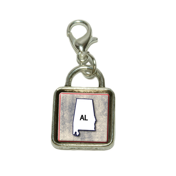 Alabama AL State Outline on Faded Blue Dangling Bracelet Pendant Square Charm