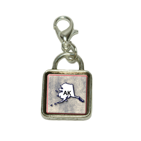 Alaska AK State Outline on Faded Blue Dangling Bracelet Pendant Square Charm