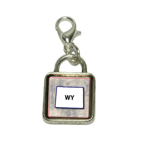 Wyoming WY State Outline on Faded Blue Dangling Bracelet Pendant Square Charm