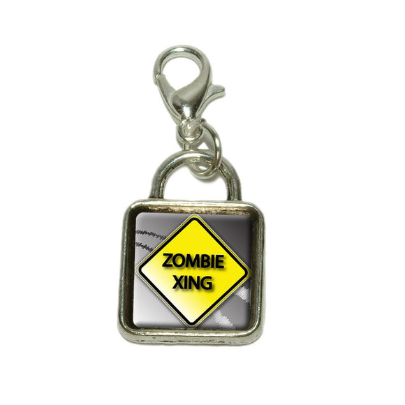 Zombie Xing Crossing Caution Sign Dangling Bracelet Pendant Square Charm