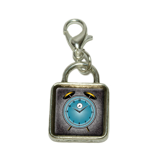 Alarm Clock Old Fashion Teal Gold Dangling Bracelet Pendant Square Charm