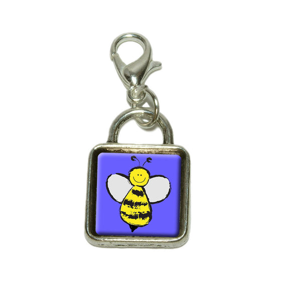 Busy As A Bee Dangling Bracelet Pendant Square Charm