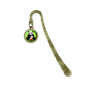 Panda Eating with Chopsticks Book Bookmark Placeholder with Charm