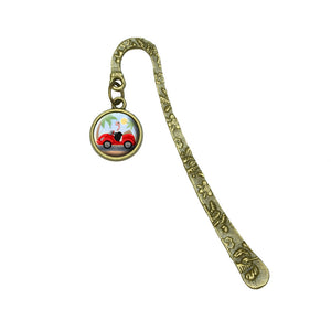 Ostrich Driving a Car Book Bookmark Placeholder with Charm