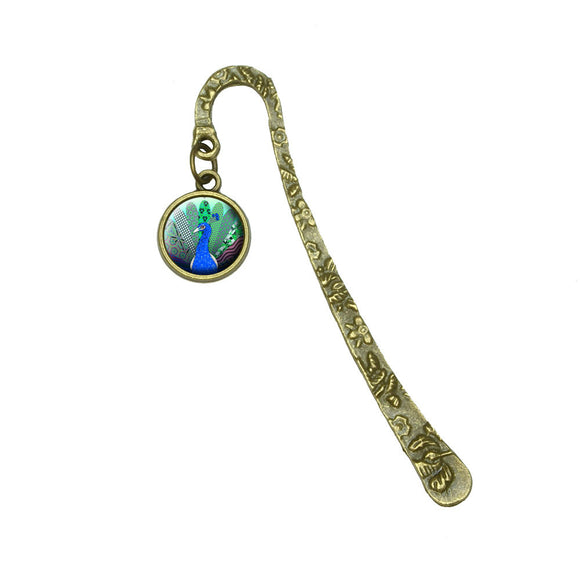 Plentiful Patterned Peacock Book Bookmark Placeholder with Charm