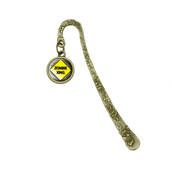 Zombie Xing Crossing Yellow Caution Sign Book Bookmark Placeholder w/ Charm