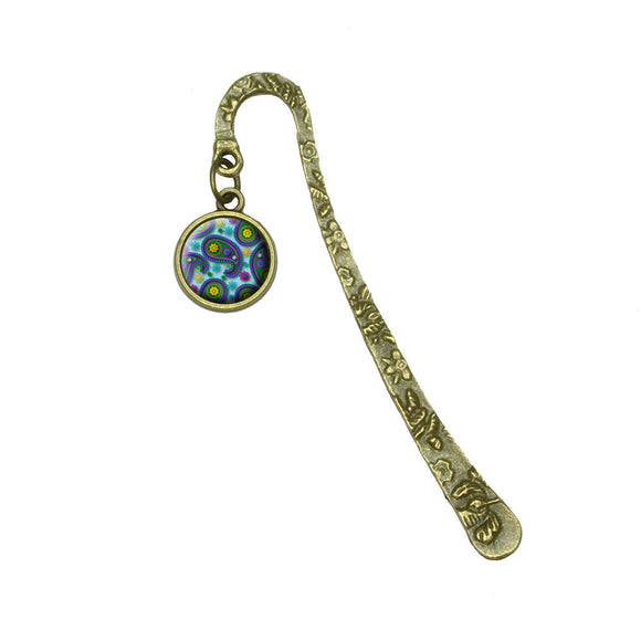 Paisley Print Lt Blue Purple Green Book Bookmark Placeholder with Charm