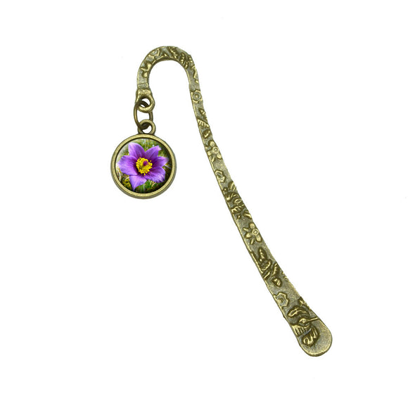Pasque Flower South Dakota State Flower Book Bookmark Placeholder with Charm