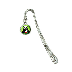 Panda Eating with Chopsticks Book Bookmark with Antiqued Charm