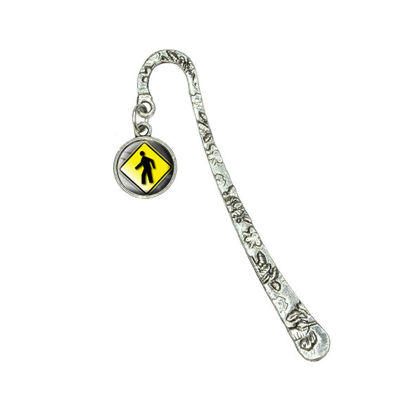 Pedestrian Crossing Road Yellow Caution Sign Book Bookmark w/ Antiqued Charm