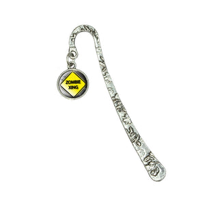 Zombie Xing Crossing Yellow Caution Sign Book Bookmark w/ Antiqued Charm
