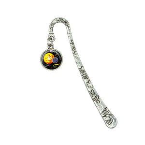Planets Space Available Sun Moon Stars Book Bookmark with Antiqued Charm