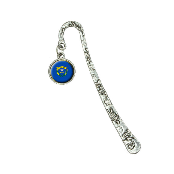 Nevada State Flag Book Bookmark with Antiqued Charm