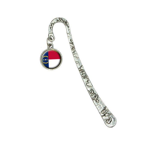 North Carolina State Flag Book Bookmark with Antiqued Charm