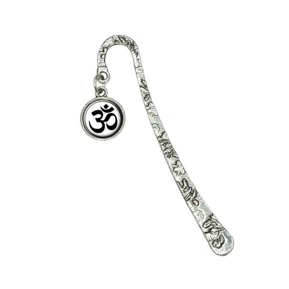 Om Symbol Book Bookmark with Antiqued Charm