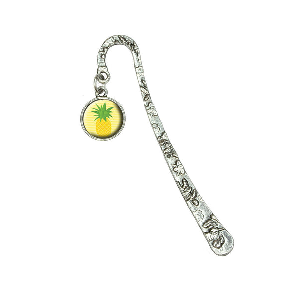 Pineapple Tropical Fruit Book Bookmark with Antiqued Charm