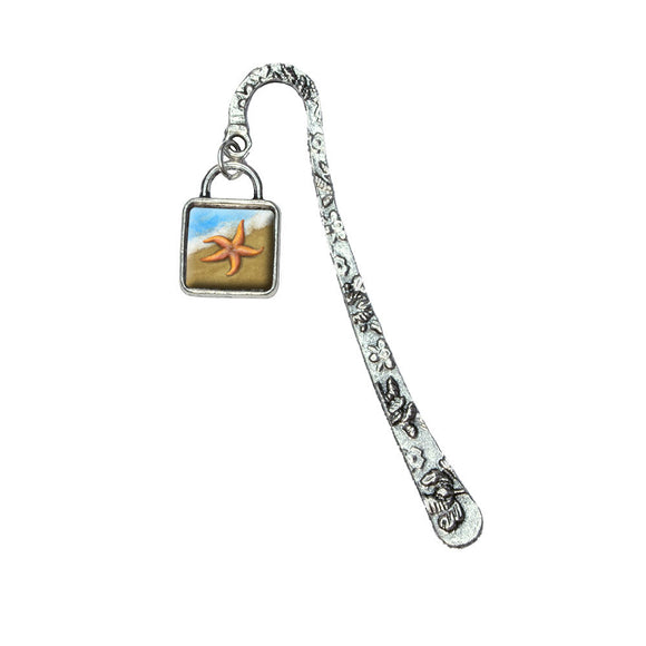 Pastel Starfish Ocean Beach Vacation Book Bookmark with Square Antiqued Charm
