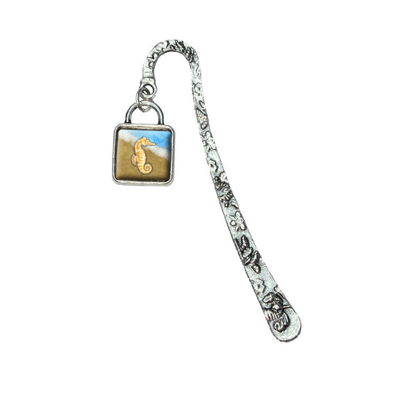 Pastel Seahorse Ocean Beach Vacation Book Bookmark with Square Antiqued Charm